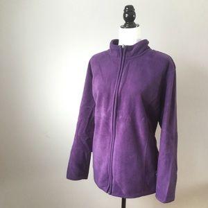 Karen Scott purple fleece zippered sweater